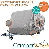 LUXUS Wohnwagen-Abdeckhaube, Spezielle 4-Schicht Abdeckung für Fahrzeuge mit einer Länge von 4,60 Meter-5,50 Meter, UV- Beständig + Atmungsaktiv, EXTRA lange Spannbänder für jede Wetter- und Windlage