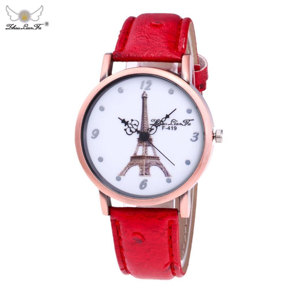 メスシンプルレザー腕時計, sinmaエッフェル塔パターンブレスレットウォッチアナログクオーツ腕時計 B071P1Q6J2 ブラック