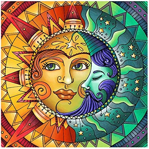 "Diamond Painting Kits for Adults,Sun and Moon Face Full Drill Crystal Rhinestone Embroidery Cross Stitch,DIY 5D Paint via Numbers for Adults Beginner,Home Wall Decor 13.8""×13.8"""