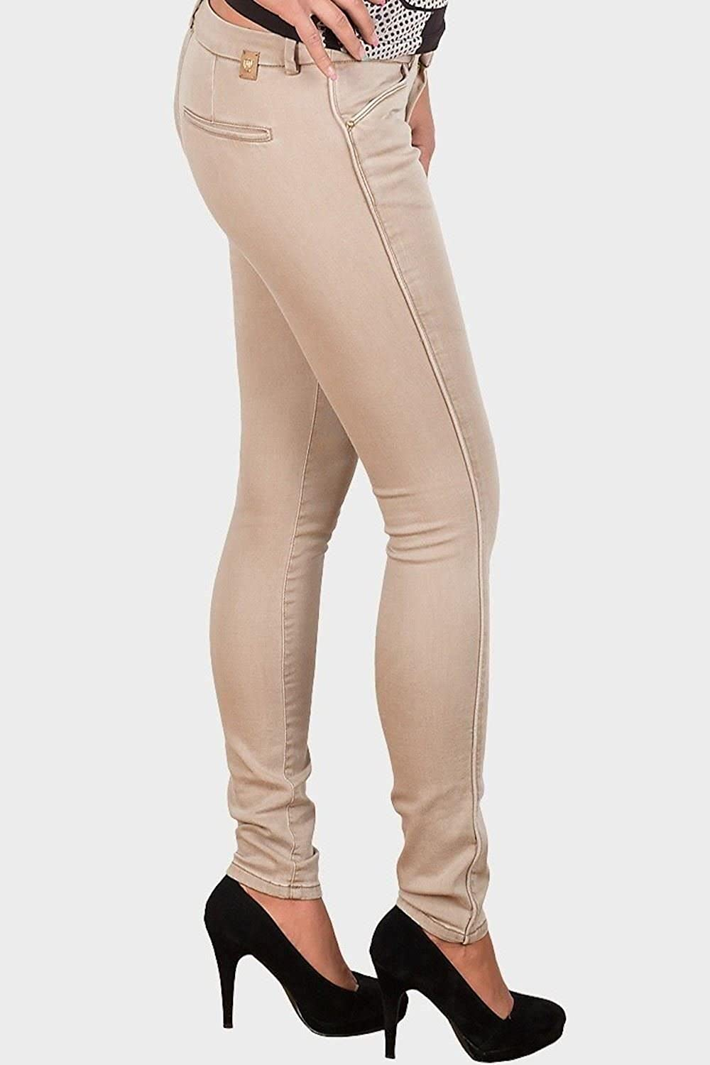 New Ladies Designer Cotton Slim Fit Twill Jeans Beige ...