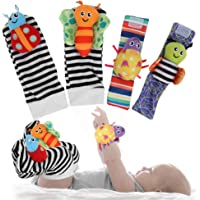 Cute Animal Baby Socks Toys, Wrist Rattles and Foot Finders Lovely Soft Baby Socks Toys for Newborn Baby Infant Girls…
