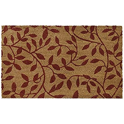 "Achim Home Furnishings PCM1830LV6 Leaves Printed Coir Door Mat, 18"" x 30"""