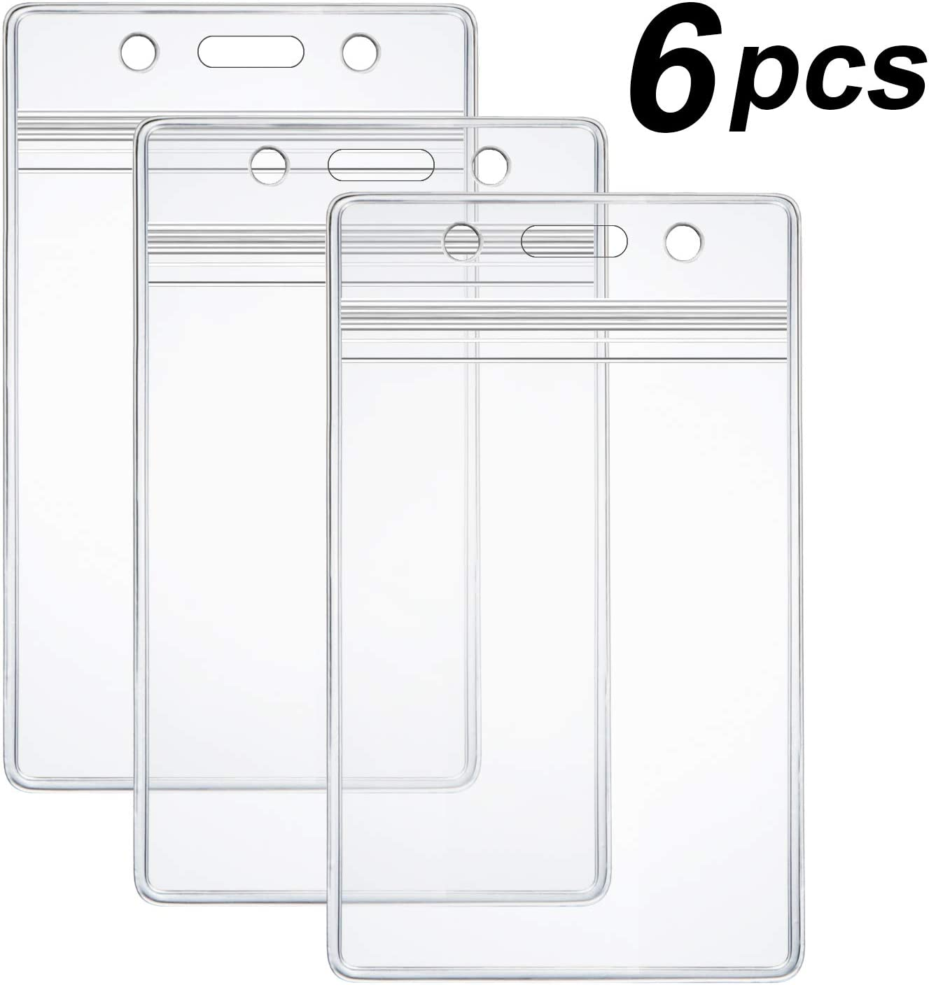 6 Pcs Extra Thick ID Card Badge Holder, Vertical Clear PVC Card Holder with Waterproof Resealable Zip Type