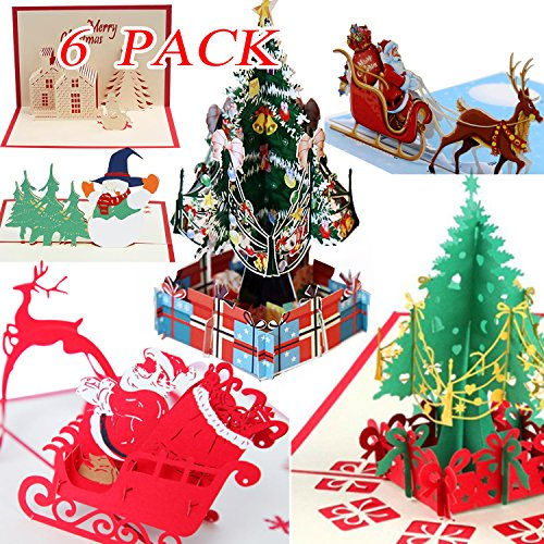 3D Christmas Cards Pop Up Greeting Cards, Funny Unique 3D Holiday Postcards - Gifts for Xmas, Religious Boxed Merry Christmas Thank You Cards - 6 Cards with Envelope -