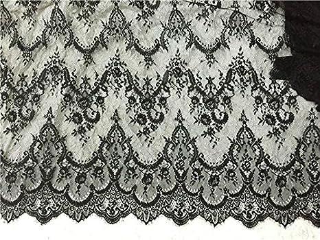 manualidades blanco marfil//negro 300 cm x 150 cm fest/ón de adorno decorado para ropa o cortinas bricolaje Encaje floral chantilly para vestido de novia//boda tela de mesa
