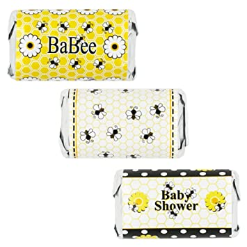 Bumble Bee Baby Shower Favors   Mini Candy Bar Wrapper Stickers, 54 Count