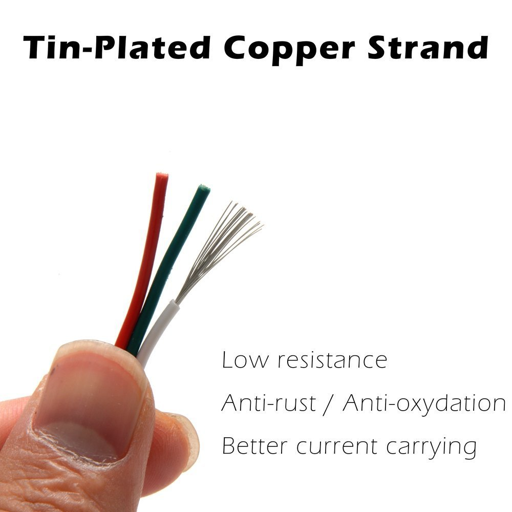 LED Strip Hookup Wire 3 Conductor 20 Gauge Copper Strand, Dream ...