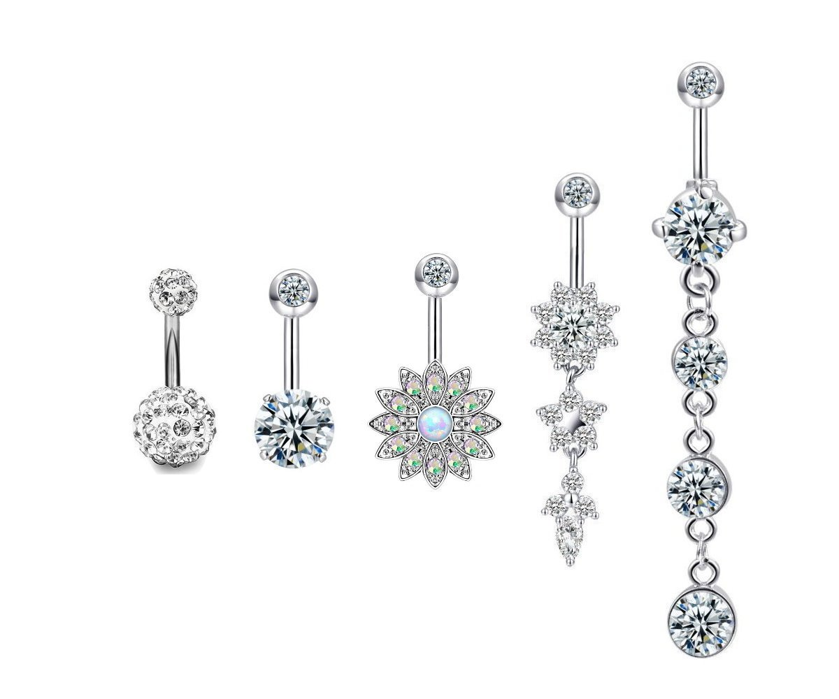 Changgaijewely 5Pcs 14G Surgical Stainless Steel Dangle Belly Button Navel Rings for Women Teen Girls CZ Body Piercing Jewelry Flower (silver)