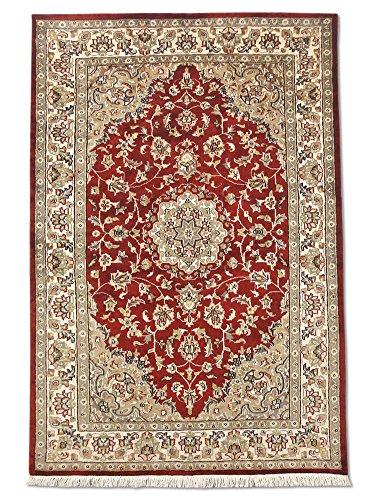Traditional Persian Handmade Kashan Rug, Wool/Art. Silk (Highlights), Burgundy, 4' 2
