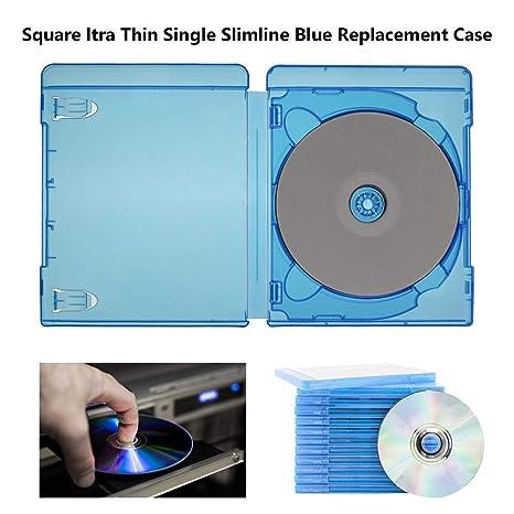 Camphiking@ Estuche para Reproductores de DVD - Caja de DVD Estuches de reemplazo Azul Cuadrado Ultra Delgado Solo Slimline para BLU-Ray DVD Titular ...