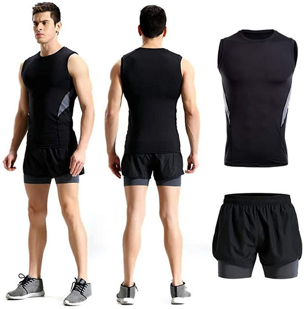 Mens Fitness Bodybuilding Skin Tight-Drying Sleeveless Shirt Tops Pants Suits