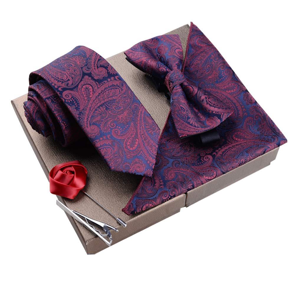 Lanburch Fashionable Premium Formal/Informal Ties Set, Necktie/Bow Tie/Pocket Square for Mens/Boys, Paisley Wine