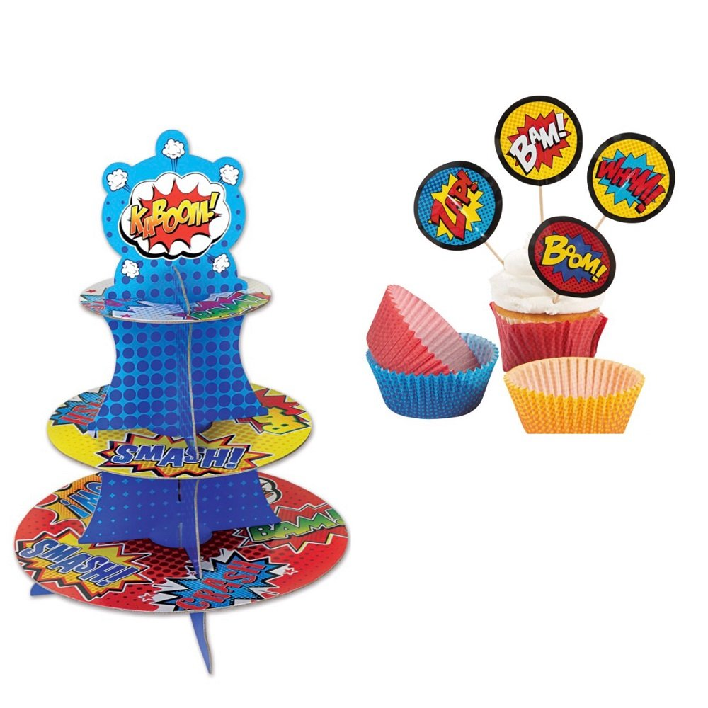Super Hero Cupcake/Dessert Stand and Cupcake Liners with Picks by Bstl Co (Image #1)