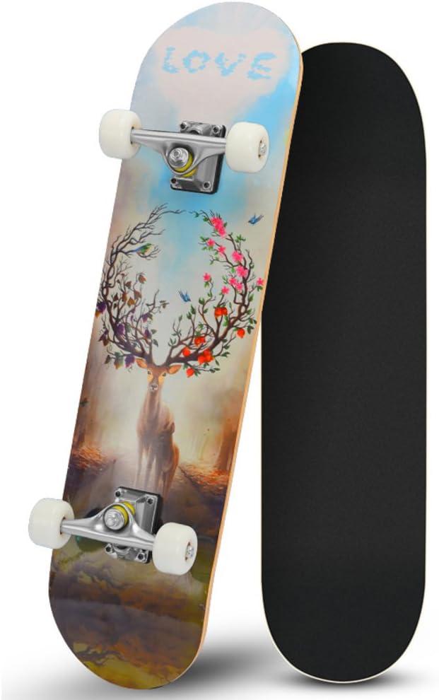 Lililili 31.5 Zoll Komplettes Skateboard - 7 Schicht-Kanadisches Ahorn-Holz-Doppelkick-Konkave Skateboards, Tricks Skate-Brett Für Anfänger und Pro kaufen