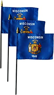 product image for Set of 3 4x6 E-Gloss Wisconsin Stick Flag - Flag Only - Made in The USA