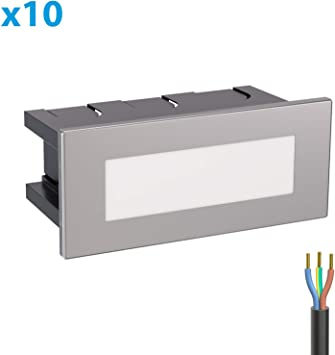 ledscom.de LED lámpara de Escalera lámpara empotrable en la Pared, Angular, 12,3x5,3cm, 230V, Blanca, 10 UDS: Amazon.es: Electrónica