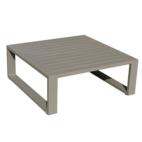 Idilik Table Basse 80 x 80 en alu Taupe Eléra: Amazon.fr: Jardin