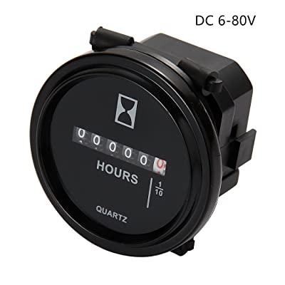 AIMILAR Mechanical Hour Meter Gauge Professional Engine Hourmeter DC 6-80V for Boat Auto ATV UTV Snowmobile Lawn Tractors Generators (DC6-80V): Automotive