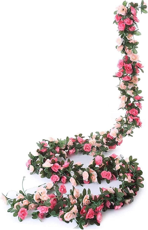 Molliy 6 Pack 49.2 FT Fake Rose Vine Flowers Plants Artificial Flower Hanging Rose Ivy Home Hotel Office Wedding Party Garden Craft Art Décor Pink