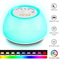 KINGSO Wake Up Light Alarm Clock Sunrise Simulation Night Light with Sounds of Nature, Touch Control and USB Charger