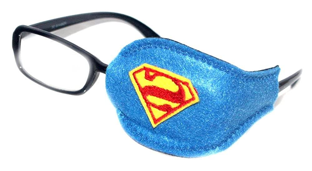 Kids and Adults Orthoptic Eye Patch For Amblyopia Lazy Eye Occlusion Therapy Treatment Design #15 SuperMan on Blue