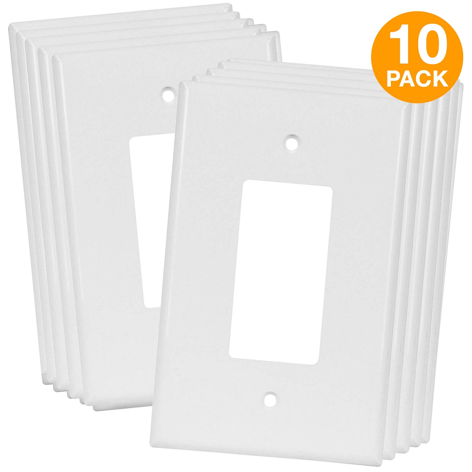 ENERLITES Decorator Light Switch or Receptacle Outlet Wall Plate, Over-Size 1-Gang 5.5'' x 3.5'', Polycarbonate Thermoplastic, White (10 Pack) by ENERLITES