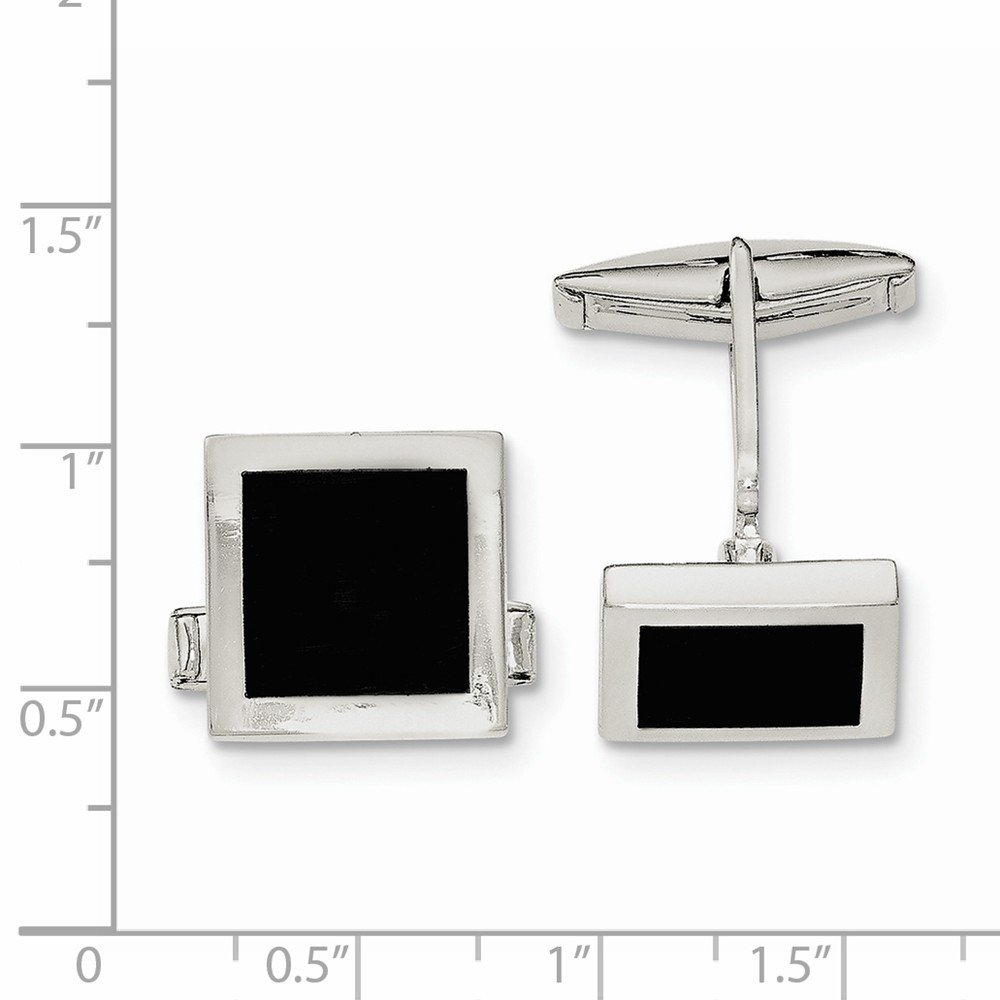 Sterling Silver Onyx Cuff Links