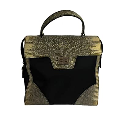48ebb17defa9 Image Unavailable. Image not available for. Color  Prada Python Saffiano Leather  Nylon Handbag 1BA005