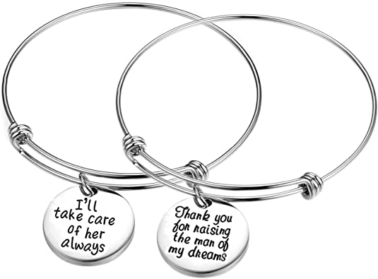 Inspirational/motivational/LOVE/Memorial/Thankful/Beauty/Praise/Religious/Friendship Meaningful Message Charm Bracelets (2PCS-I'll take care of her always-Thanks for raising the man of my dreams)