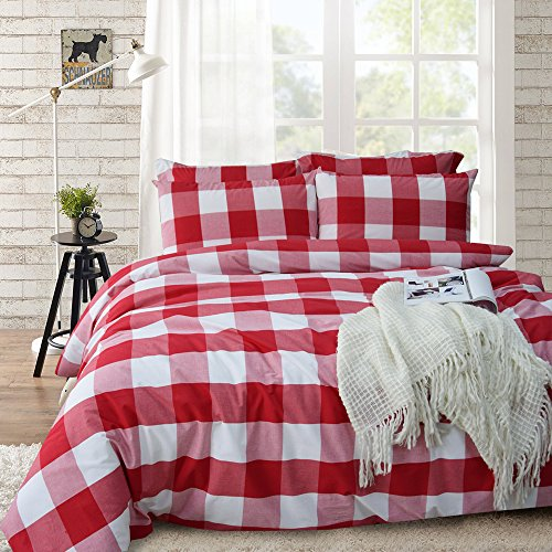 Merryfeel 100% cotton yarn dyed Duvet Cover Set - Full/Queen Red (Sham Check)