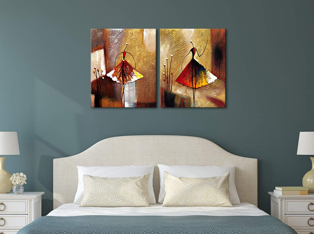 Wieco Art Ballet Dancers 2 Piece Modern Decorative artwork 100/% Hand Painted Contemporary Abstract Oil paintings on Canvas Wall Art Ready to Hang for Home Decoration Wall Decor