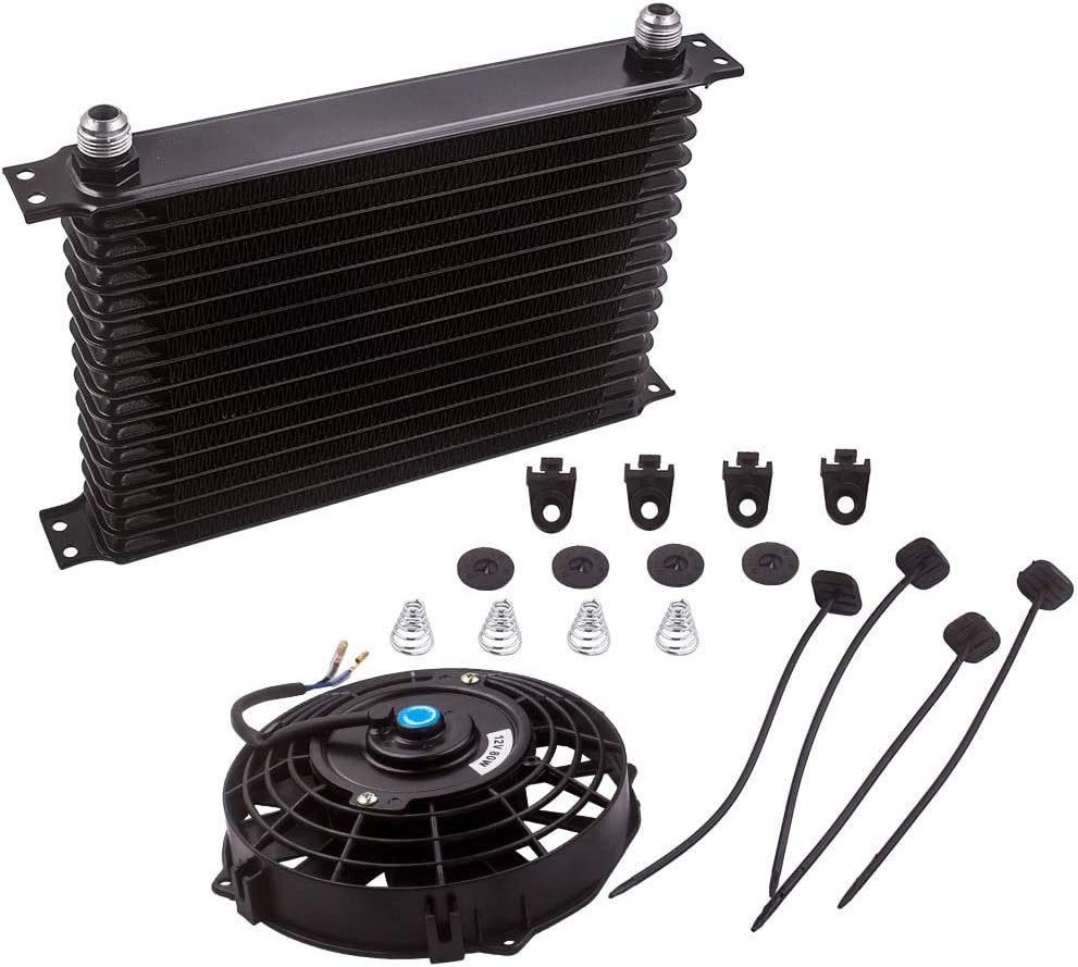 7 inch 10 Blade Cooling Fan 15 ROW AN10 Universal Aluminum Black Engine Oil Cooler