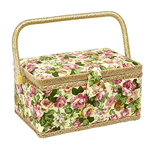 Sewing Basket with Rose Floral Print Design- Sewing Kit Storage Box with Removable Tray, Built-In Pin Cushion and Interior Pocket - Medium - 11