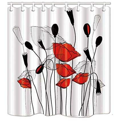 Amazon KOTOM Floral Decor Shower Curtain Red Gray Black