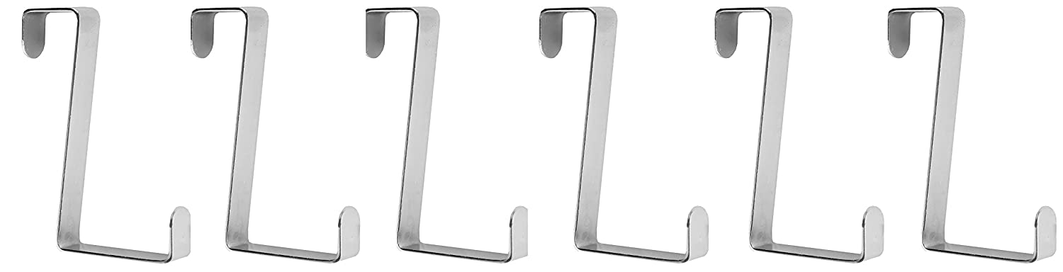 Home-X Over the Door Hooks (Set of 6), Durable Design is Perfect for Any Bathroom and Effortlessly Holds Towels, Clothing, and More, Polished Silver-Tone Finish