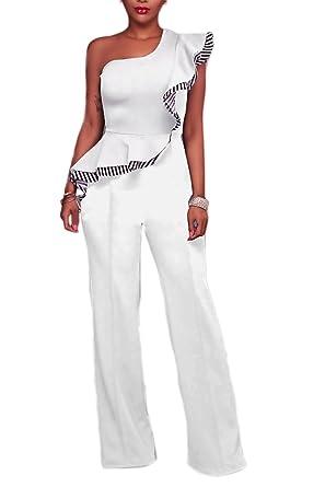 e1c40ac69c1 Women Elegant One Shoulder Ruffles Formal Wide Leg Full Length Jumpsuits  Rompers White S