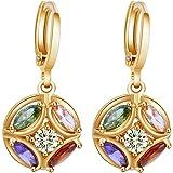 Yazilind 18K Gold Plated Cubic Zirconia Hoop Huggies Earrings Ball Dangle Drop Earrings for Women