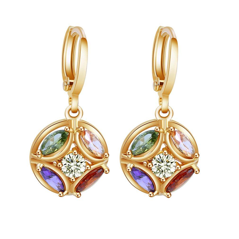 Yazilind 18K Gold Plated Cubic Zirconia Hoop Huggies Earrings Ball Dangle Drop Earrings for Women YAZILIND JEWELRY LIMITED 1076E0953