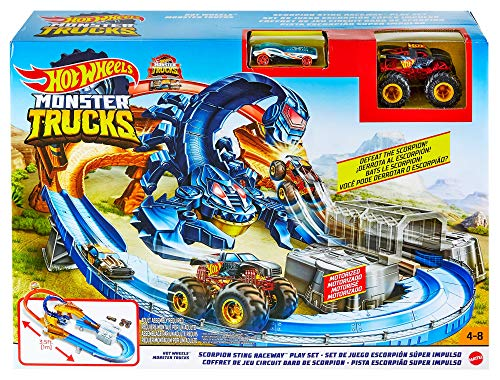 Hot Wheels Monster Trucks Scorpion Raceway Boosted Set with Monster Truck car and Giant Scorpion Nemesis, Multi (GTL33)