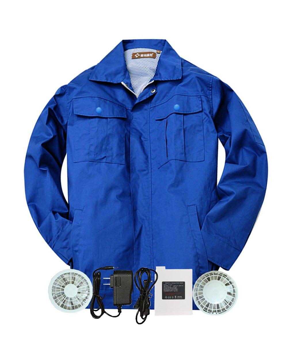 M2C 空調服 空調服神服 長袖ワークブルゾン 2枚セット 綿100% 作業服 ファン付き リチウムイオンバッテリーセット 熱中症対策 B071V7P7G8 M(Aセット) ブルー ブルー M(Aセット)