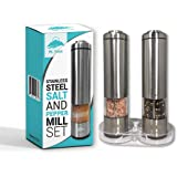 Salt and Pepper Electric Grinder Set by Mount Ynaya- 2 Tall Battery Operated Stainless Steel