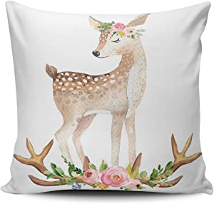 Fanaing Pink Green and Brown Boho Woodland Antlers Baby Girl Nursery Pillowcase Home Sofa Decorative 18X18 Inch Square Throw Pillow Case Decor Cushion Covers One-Side Printed