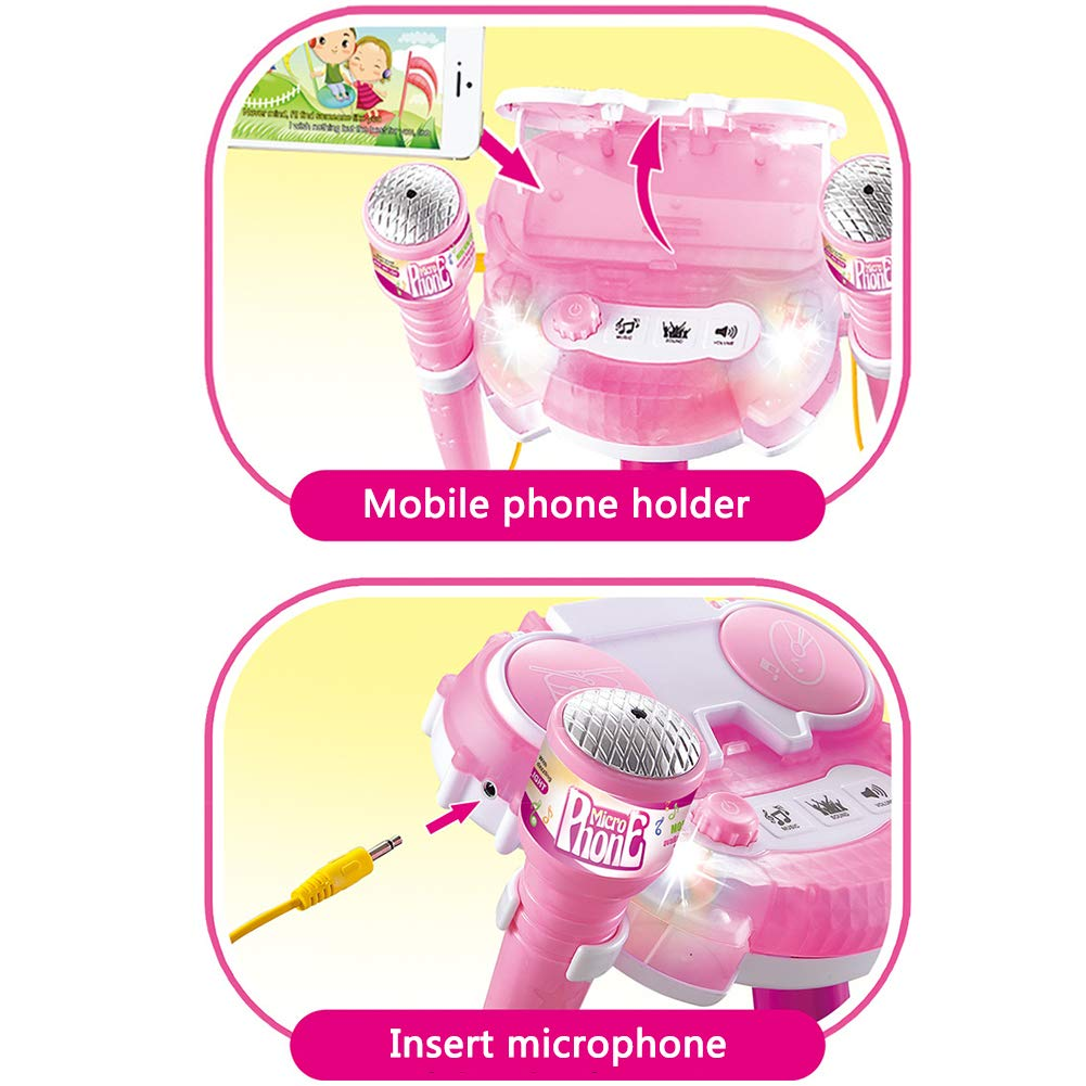 Light Musical Toy Karaoke Machine Kids Adjustable Stand Microphone Early Education Microphone Pink Double Wheat Touch Karaoke Singing by Mababys (Image #4)