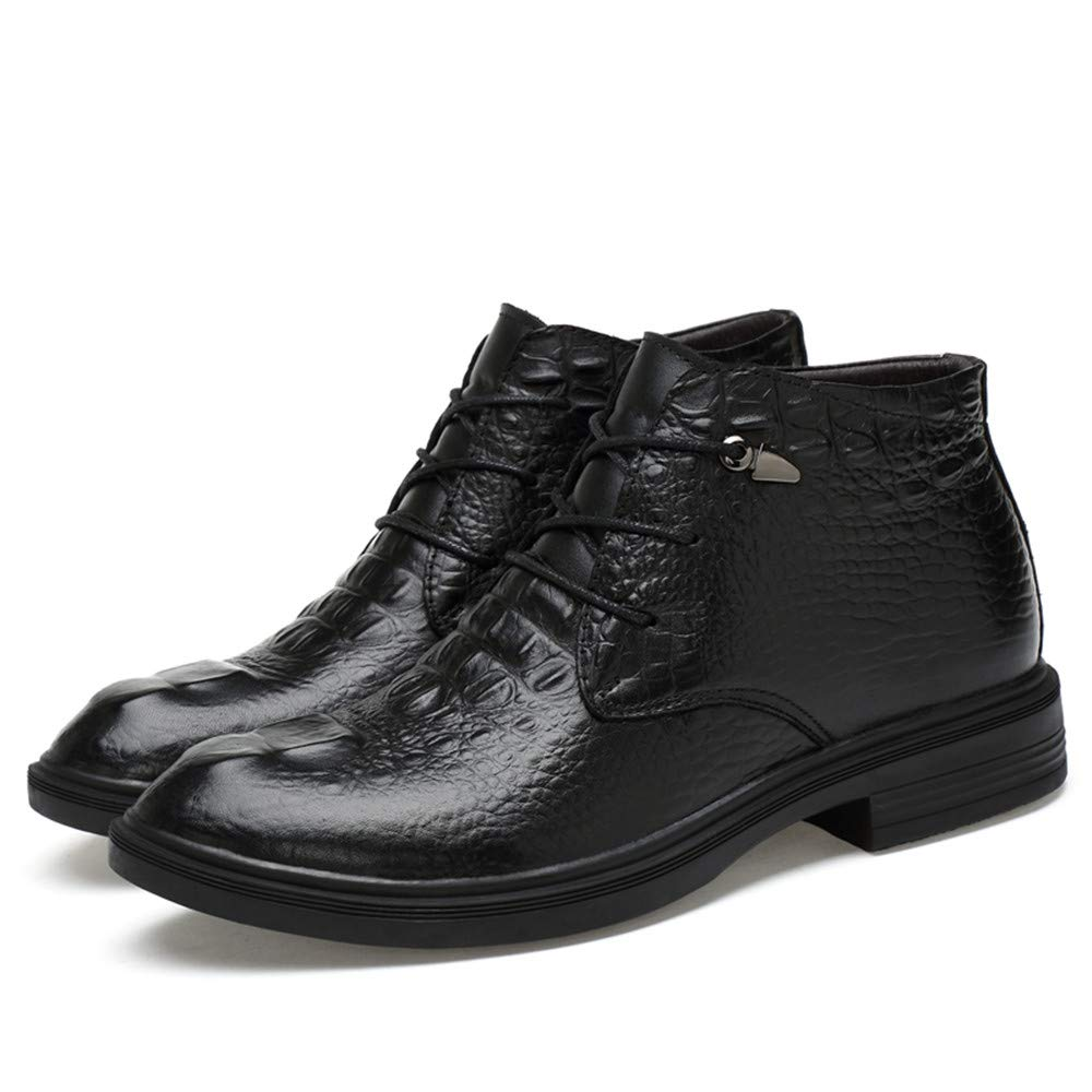 MUMUWU Mens Ankle Boots Casual Grade Crocodile Print OX Leather High Top Formal shoes Winter