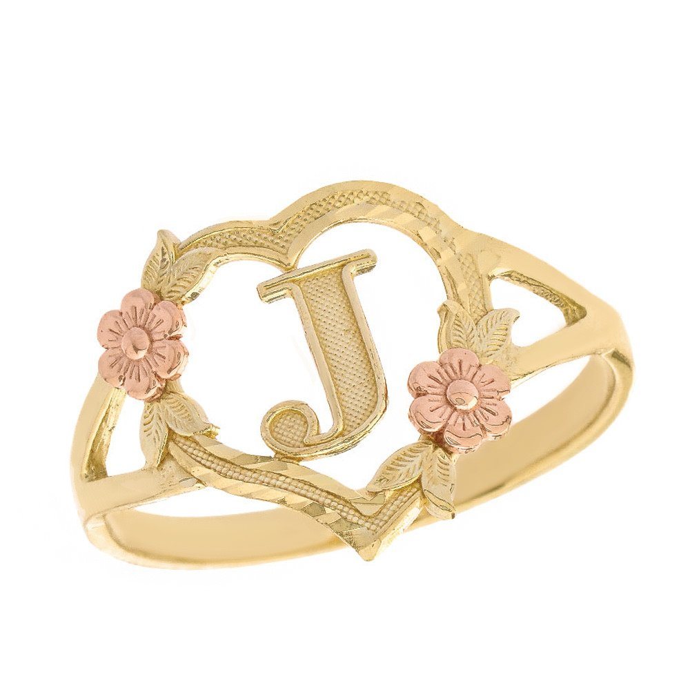 CaliRoseJewelry 10k Two-Tone Initial Alphabet Personalized Heart Ring in Yellow and Rose Gold (Size 7) - Letter J