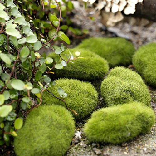 LiPing Micro landscape fairy garden miniature decoration ornament artificial fake moss lawn Mossy stone model Toy DIY accessories (S)