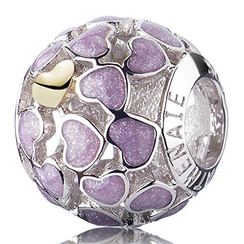 ATHENAIE 925 Sterling Silver Light Purple Abundance of Love Enamel Openwork Charms Gift for Girlfriend
