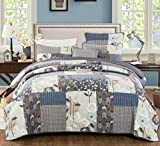 DaDa Bedding Quiet Country Farmhouse Real Patchwork Cotton Quilted Coverlet Bedspread Set - Warm Multi Colorful Dark Navy Blue Grey Floral Print - King - 3-Pieces