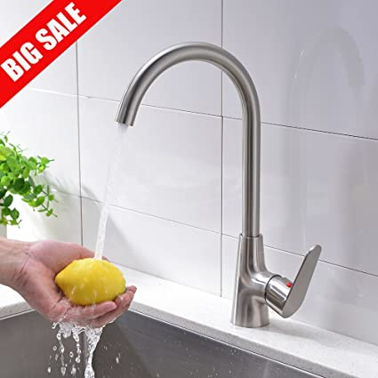 Brushed Nickel Kitchen Sink Vccucine contemporary single handle stainless steel brushed nickel kitchen sink faucet 360 degree swivel spout kitchen faucet vccucine contemporary single handle stainless steel brushed nickel kitchen sink faucet 360 degree swivel spout workwithnaturefo