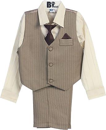 Includes Shirt Vest Tie Pants Boys Pinstripe Suit Three Button Kids Outfit
